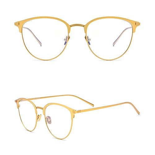 Z&HA Reine Titanrahmen Runder Retro Nicht verschreibungspflichtige Brillen Rahmen Mit klaren Linsen Für Frauen und Männer,Gold