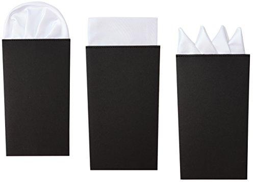Confezione da 3 Pochette Bianche, Fazzoletto da Taschino, Già Piegate in Stile Presidential, Crown e (Tipo Taschino)