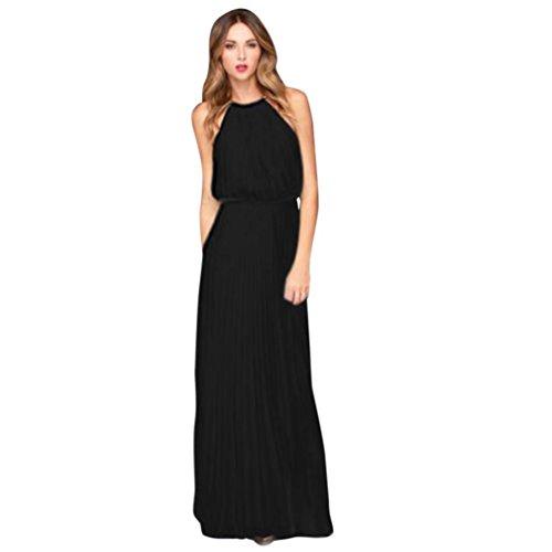 Maxikleider Sommer,SANFASHION Damen Frauen Chiffon ärmellose Prom Abend Party Lange Kleid