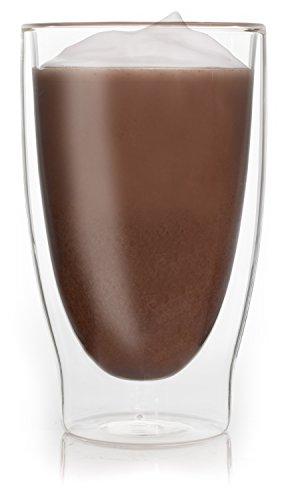 Feelino 1x 400ml XL doppelwandiges Thermoglas + 1x hochwertiger Rapunzel BIO – Trinkschokolade mit hohem 30% Kakaoanteil, Kokosblütenzucker, Meersalz und mit natürlichem Bourbon Vanille / doppelwandiges Thermo Glas mit Schwebe-Effekt - 2