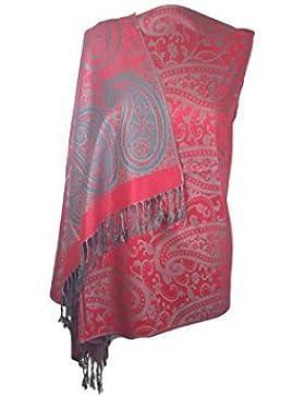 World of Shawls, Pashmina de diseño de flores con bordes, chal de lujo, cálido y suave, tacto de seda