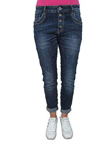 Karostar by Lexxury Denim Stretch Baggy-Boyfriend-Jeans Boyfriend 4 Knöpfe offene Knopfleiste weitere Farben (4XL-48, Dark Denim)