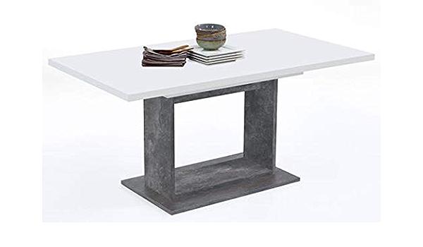 Dim PEGANE Table Basse Coloris Blanc Brillant /à LED en m/élamine 120 x 60 x 40 cm