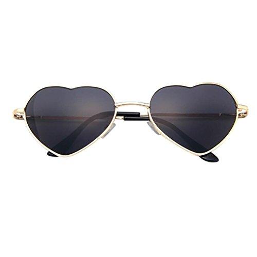 Solike Sonnenbrille für Damen Stilvoll Herz Look Metall Scharniere Klein Nerd Brille (E)