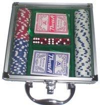 Poker Chip Set in Acrylic Lid Aluminum Case (100 Piece)