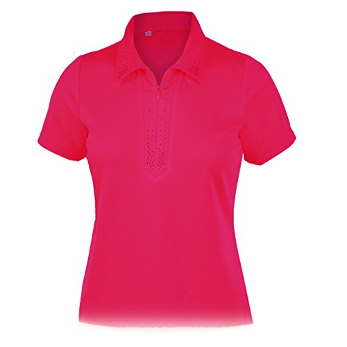 Monterey Club Damen Dry Swing Strass Detail Massiv Shirt # 2438, Damen, Beere, Medium - Club-camp-shirt