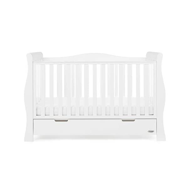 Obaby Stamford Sleigh Luxe Cot Bed - White Obaby Adjustable 3 position mattress height Bed ends split to transforms into toddler bed Includes matching under drawer for storage 7