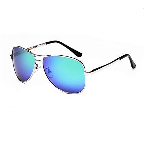 KISlink Sonnenbrille-Herren Polarisierte Brille Driving Colorful Aviator Damen Tide Driver Frog Mirror (Farbe: Silber/Blau Grün)