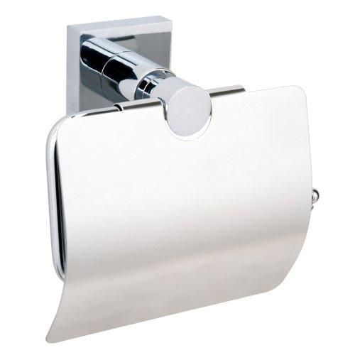 Nie Wieder Bohren hukk Toilettenpapierhalter, mit Deckel, verchromt, Montage ohne Bohren, hohe Haltekraft (bis 6kg), 130mm x 140mm x 70mm