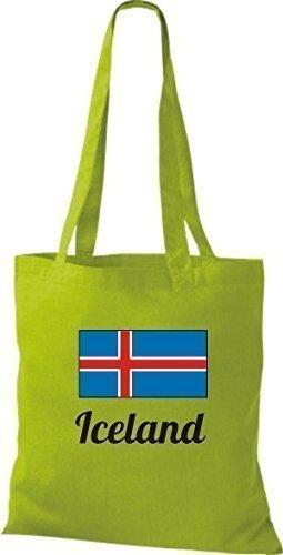 ShirtInStyle Stoffbeutel Baumwolltasche Länderjute Iceland Island Farbe Sky kiwi