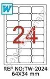 TANEX TW-2024 etichette indirizzo/spedizione in bianco 64 x 34 mm -arrotondate- 100 fogli A4