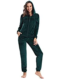 00e33eee Aibrou Women's Tracksuit Zip up Hoodie and Sweat Pant Twinset Long Sleeve  Solid Velour Sports Coat