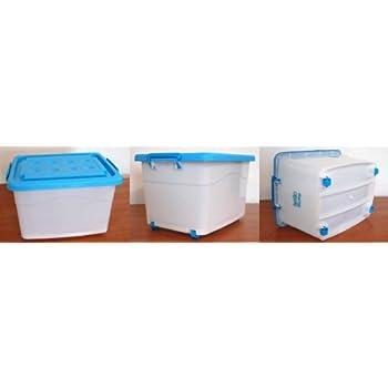 aufbewahrungsbox mit deckel und rollen 60 liter milchig. Black Bedroom Furniture Sets. Home Design Ideas
