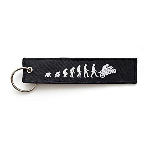 RENEGADE Motorrad Schlüsselanhänger aus Stoff mit Schlüsselring Bestickt & Kratzfest (130 x 30 mm, schwarz). Ideal für Ihr Motorrad (Biker Evolution)