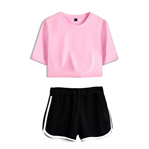 SQQZ Exposed Nabel Short Sleeve + Short Pants Sexy Anzug Bedruckt,Tanzsportkleidung Kostüm einfarbig, 2-teiliges Set
