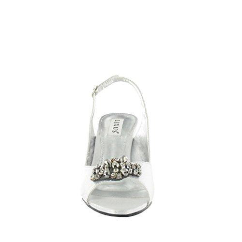 Sac à dos bandoulière pour Lexus Peep Toe Sandal avec bordure perlée. Argent - argent