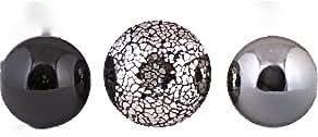 Decorative Balls set of 3 Black Silver Mosaic