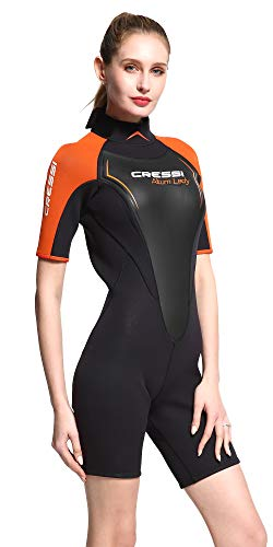 Cressi Altum Lady Wetsuit Shorty Damen Neoprenanzug Premium Neopren 3mm, Schwarz/Orange, X-Large