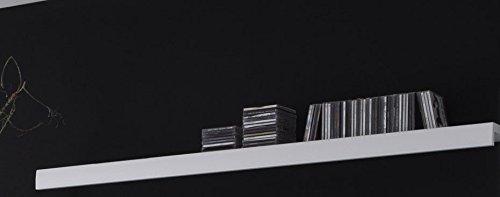 Dreams4Home Wohnwand 'Cors' – Set, Glasvitrine, Highboard, TV-Lowboard, Wandregal, Medienwand, Phono Möbel, Hochglanz, Aufbewahrung, Wohnzimmer, B/H/T: 300 x 200 x 35 – 45 cm, in Hochglanz weiß, tiefgezogene Fronten, Beleuchtung:6 x Glasbodenbeleuchtung blau - 6