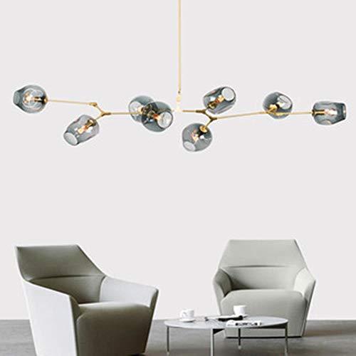 Moderne led pendelleuchte molekulare lampe pendelleuchte lampe decke kleidung dekor glaskugel lampe wohnzimmer schlafzimmer esszimmer, cognac, 9 kopf, gold körper - Neun Light Cognac