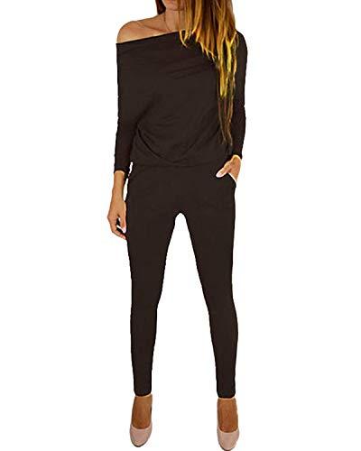 YOINS Femme Combinaison Pantalon Élégante Combishort Sexy Débardeur Bretelles Sarouel Pantalon Taille Jumpsuit Haute Épaules Nues, Épaule-café, XL