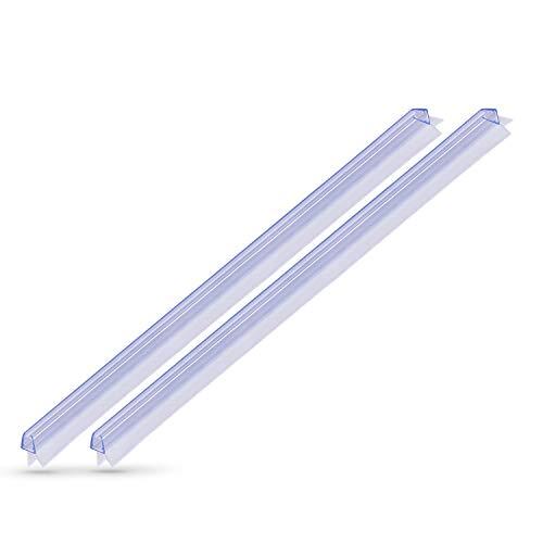 KANWA - 2x 100cm - 2x 1 Meter Duschdichtung transparent für die Duschkabine 6 mm, 7 mm, 8 mm Glasdicke der Duschtür, Duschleiste - Ersatzdichtung - Wasserabweiser mit Dichtkeder Schimmelbeständig