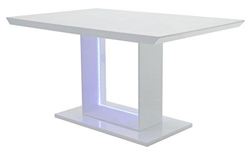 CAVADORE Esszimmertisch BLACE,Moderner Esstisch mit blauer LED Beleuchtung,Hochglanz Weiß,140x75x90 cm (LxBxH)