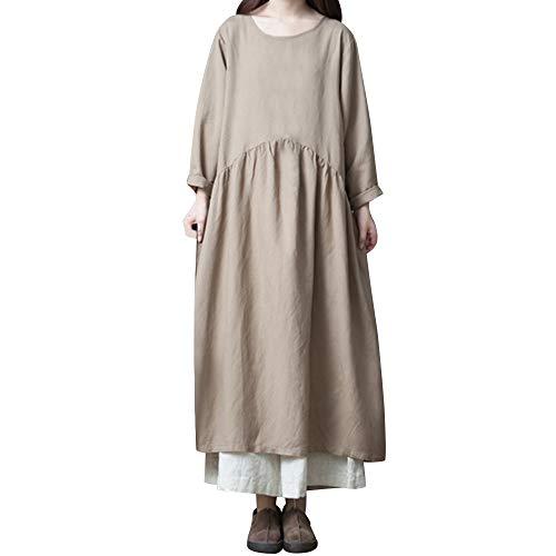 iLPM5 Frau ÜBergrößE BettwäSche Aus Baumwolle Boho Dress Damen Casual Rundhalsausschnitt Langarm...