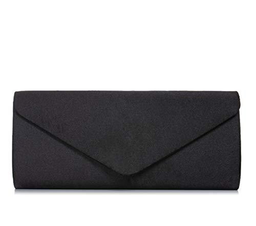 VINCENT PEREZ, Clutch, Abendtaschen, Umhängetaschen, Unterarmtaschen aus Satin, mit abnehmbarer Kette (120 cm), 24x10x5,5 cm (B x H x T), Farbe:Schwarz