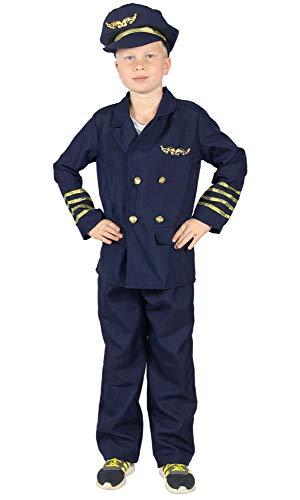 Foxxeo Pilotenkostüm für Kinder Piloten Uniform für Jungen Kostüm Pilot Größe 110-116 (Pilot Kostüm Für Kinder)