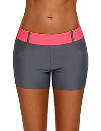 00b419e2ad70 HX Fashion Pantalons De Natation Femme Sport Fitness Entraînement Yoga Short  Tailles Confortables À Séchage Rapide Maillots De Vetement Bain…
