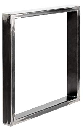 HOLZBRINK Patas de Mesa perfiles de acero 60x20 mm, forma de marco 40x43 cm, Acero pulido y lacado, 1 Pieza, HLT-01-E-BB-0000