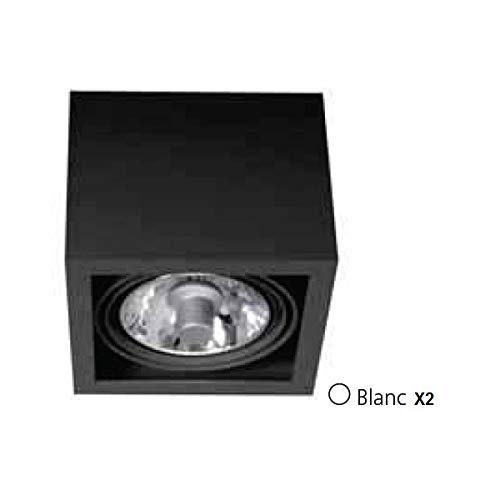 Plafonnier applique acier blanc 307X162X195mm pour 2 lampes iodure 70W GX8.5 (non incl) ballast elec CEDROS TRAJECTOIRE 001454