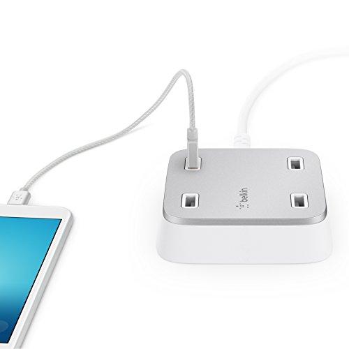 Belkin Family Rockstar 4 fach USB Ladegerät für Tablet/Smartphone (geeignet für iPhone, iPad, iPod, Samsung Galaxy und weitere Geräte) weiß/silber (Netzteil Belkin)