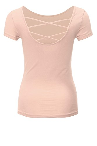 Only Onllive Love SS Lace Up Top Noos, T-Shirt Donna Rosa chiaro