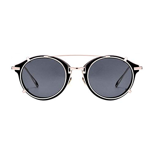 BJYG Sport-Sonnenbrille Runde Retro Polarisierte Sonnenbrille Steampunk-Stil Retro-Brille UV400-Schutz Matel Frame Abnehmbare Sonnenbrille Laufen, Reiten, Angeln Sonnenbrille