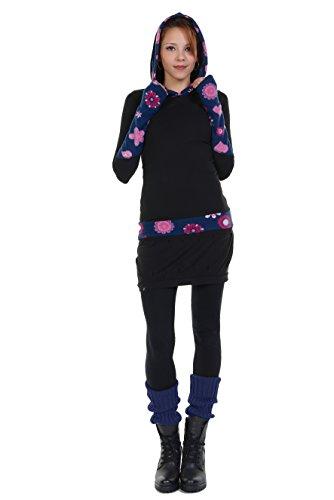 zauberhaftes Winterkleid mit Ballonrock und Kapuze mit farblich abgesetzten Fleece Details der Marke 3Elfen fair produziert Pink Lady