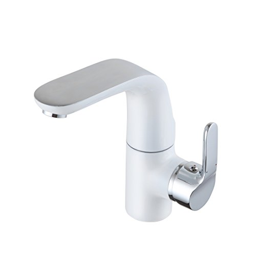 POP Wasserhahn Badarmatur 360° drehbar Waschbecken Mischbatterie Armatur Waschbeckenarmatur für Badezimmer Weiß Chrom (Mixer-pop)
