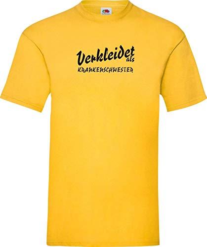 Krankenschwester Gelben T-shirt (Shirtinstyle T-Shirt Karneval Verkleidet als Krankenschwester Die Beste Verkleidung Farbe gelb, Größe L)