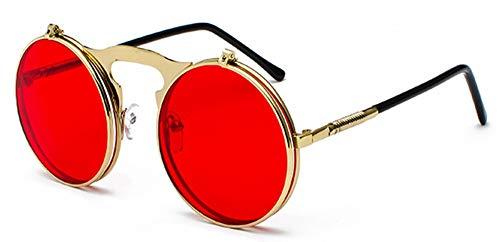 Sonnenbrille Runde Klappbare Sonnenbrille Retro Männer Metallrahmen Rote, Gelbe Linse Zubehör Gold Mit Rot Unisex Sonnenbrillen Für Frauen