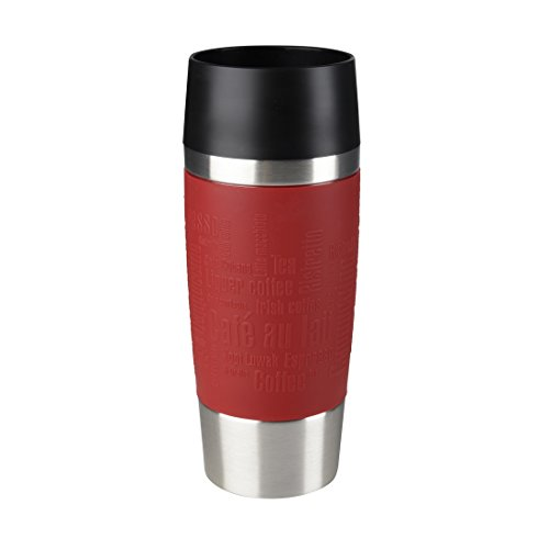 Emsa 513356 Isolierbecher, Mobil genießen, 360 ml, Quick Press Verschluss, Rot, Travel Mug