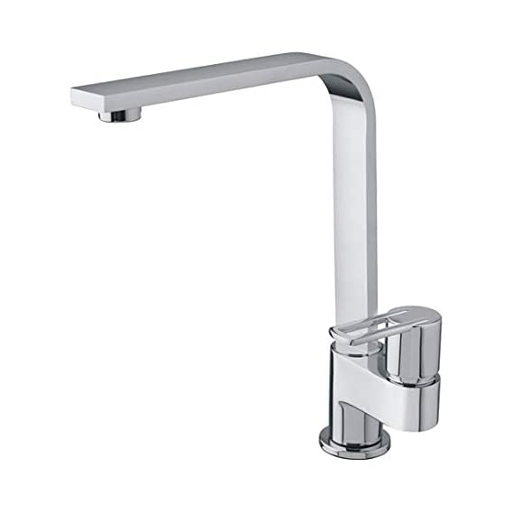 JAQUAR CORSA NEXA swan neck cock tap single lever with foam flow water quarter turn disc with swinging swivel casted spout 360 degree rotate surface mounted model faucet for basin sink purpose brass chrome plated finish for kitchen bathroom purpose alton