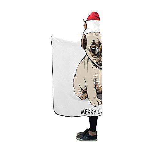 JIMO Mit Kapuze Decke Weihnachten Welpen Hund Mops Decke 60 x 50 Zoll Comfotable Mit Kapuze werfen Wrap