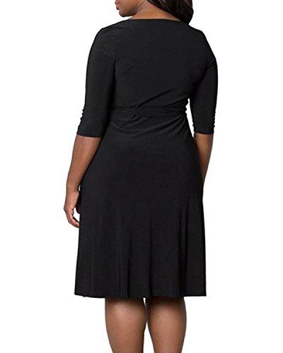 ZANZEA Femme Élégante Robe de Soirée Col V OL Robe Demi Manches Tunique Noir