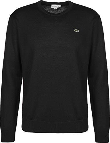 Lacoste AH3021 Klassischer Rund-Ausschnitt Wollpullover, Herren Pullover aus Wolle, grünes Krokodil, Langarm Schwarz (Black (031)), EU 4 - Wolle Herren Golf-pullover