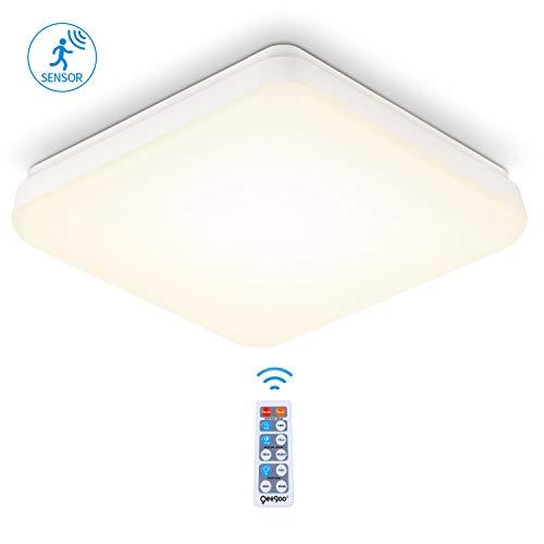 Oeegoo LED deckenleuchte mit Bewegungsmelder, 18W Deckenlampe mit Bewegungssensor, IP54 Wasserdicht Badlampe Einstellbare Sensorleuchte für Wohnzimmer, Flur, Garage, Lager, Hotel, Neutralweiß 4000K