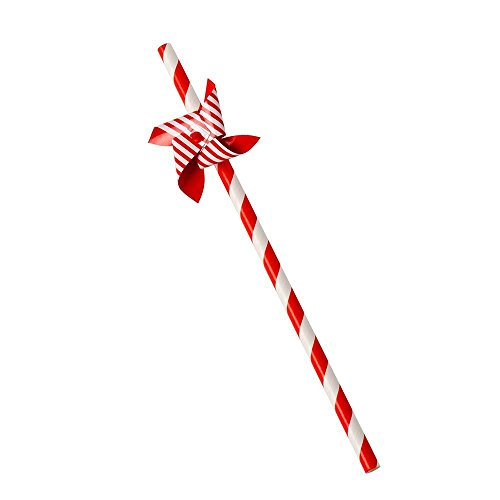 Eddingtons–Molino de viento papel pajitas rojo y blanco juego de 12