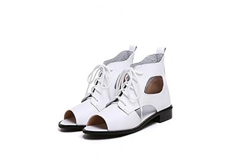 Beauqueen Sandalen Frauen Frühling und Sommer Flat Peep-Toe Hollow Weiblich Rosa Weiß Rot Blau Casual Urlaub Schuhe Special Größe Europa Größe 34-41 , silver , 40 (not (Rosa Pebbled Leder)
