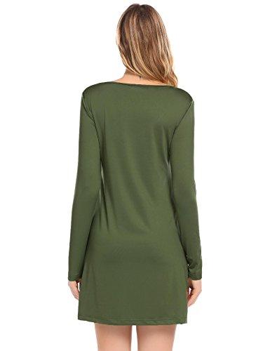 Keland Damen Super Basic Strickkleid figurbetont aus superweichem Viskose-Feinstrick, gestreift und uni Army Grün