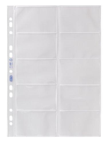 Elba 100460994 Visitenkarten-Prospekthüllen, A4 (links offen, für 20 Visitenkarten, dokumentenecht) 10 Stück, aus PP 0,09 mm, glasklar